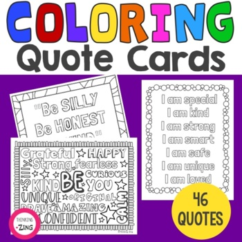 Coloring Inspirational Quote Cards