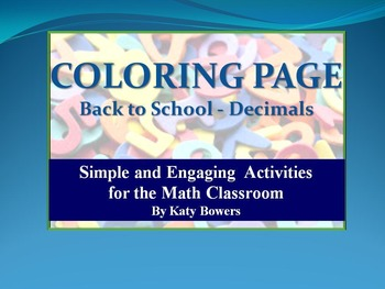 Coloring Page - Back to School  Decimals Review (Beginning