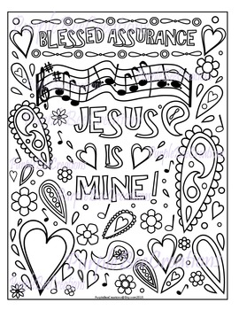 Coloring Page Hymn Blessed Assurance Coloring Page