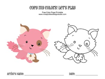 Coloring Page Printable- Pink Kitty