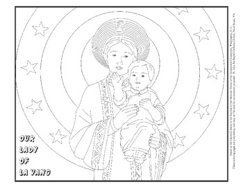Coloring Page of Our Lady of La Vang, detail