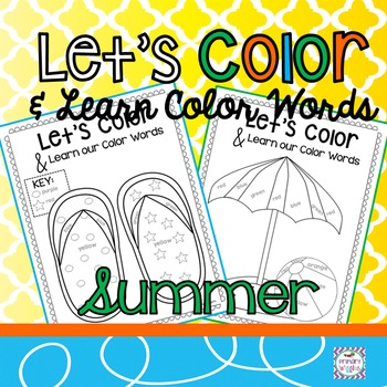 Summer Coloring Pages with Color Words