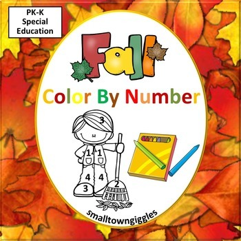 Fall or Autumn Color by Number Sheets Kindergarten Math Co