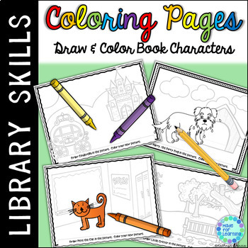Coloring Pages for Library Centers: Book Characters