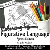 Sports Figurative Language Activity, No Prep Coloring