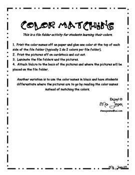 Colors, Colors! File Folder Activity