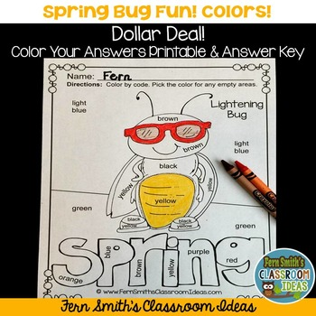 Color By Code Spring Bug Fun Know Your Colors Dollar Deal