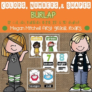 Colors, Numbers, & Shapes Posters: Burlap