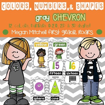 Colors, Numbers, & Shapes: Gray Chevron