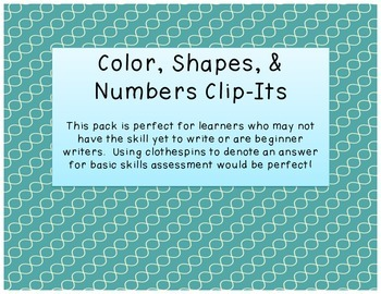 Colors, Shapes, & Numbers Clip Its