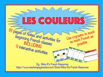French colors Smartboard activities for French 1 or explor