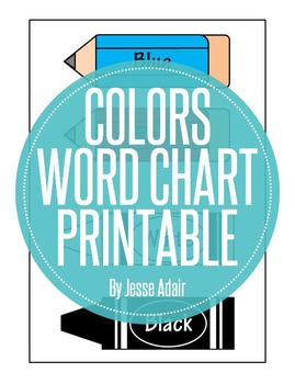 Colors Word Chart Printable