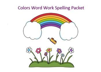 Colors Word Work Packet – 15 words no prep spelling packet