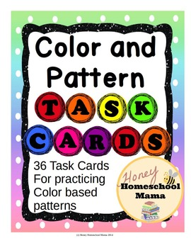 Colors and Patterns Task Cards - 36 Cards, Recording Sheet