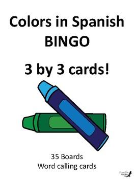 Colors in Spanish 3 by 3 BINGO!