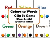 Colors to Words Clip It Game {Three Levels of Color Recognition}