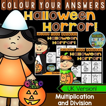 Colour By Numbers Halloween Costumed Kids Multiplication a