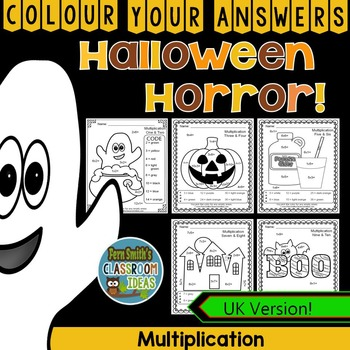 Colour By Numbers Halloween Fun Multiplication UK Version