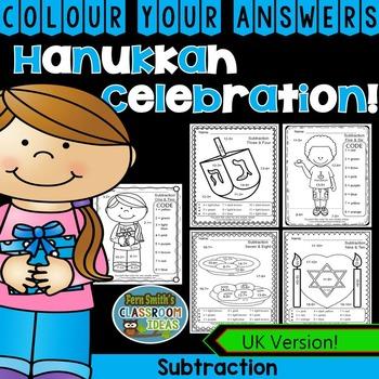 Colour By Numbers Hanukkah Celebration Subtraction UK Version