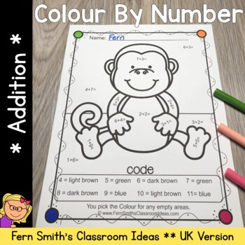 Colour By Numbers Awesome Animals Mixed Addition UK Version