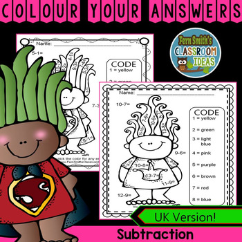 Colour By Numbers Trolls Subtraction UK Version