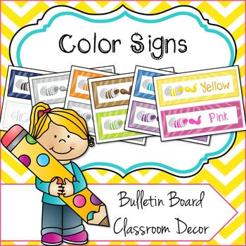 Colours / Colors Bulletin Board Classroom Signs