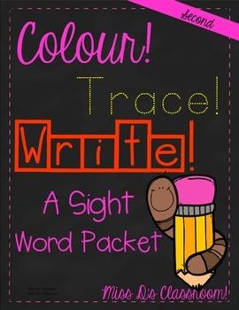 Colour, Trace, Write: Second Grade Sight Words!