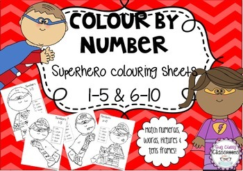Color by Number ~ Superhero Coloring Sheets using number r