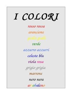 Colour charts & Cloze  in Italian