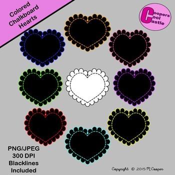 Coloured Chalkboard Stitched Scalloped Hearts (Digital Cli