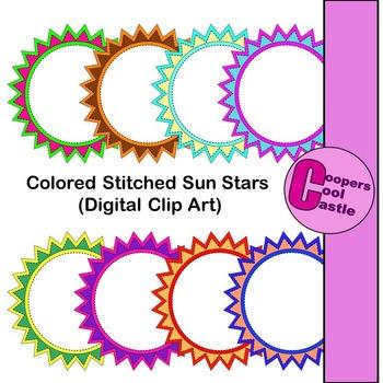 Coloured Stitched Sun Stars (Digital Clip Art)
