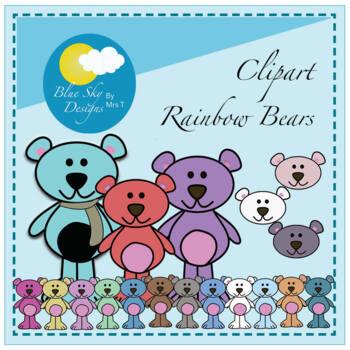 Colourful Bears Clip Art Set