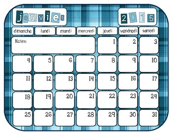 Colourful Calendars- 2015 French and English