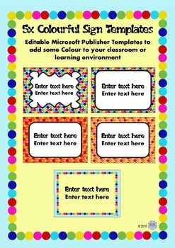 Editable Colourful Sign template for Classroom or Learning