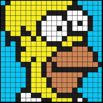 Colouring by Percent Problems- Homer, Solo Math Mosaic