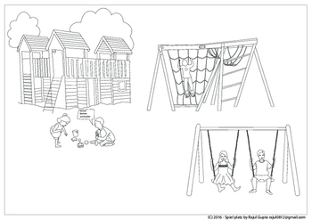 Colouring illustration of playing area