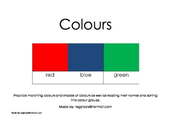 Colours - Autism, Special Needs, Early Years, Reading