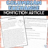Columbian Exchange Nonfiction Article Activity