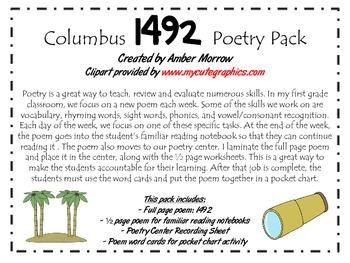 Columbus 1492 Poetry Pack