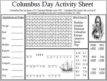 Worksheets Columbus Day Worksheets columbus day worksheet delibertad math worksheets archives fun in first