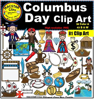 Columbus Day Clip Art- 81 images 38 Color and 43 b&w Bilin