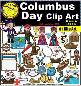 Columbus Day Clipart 81 images 38 Color and 43 b&w Bilingu