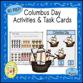 Columbus Day Count and Clip Holiday Task Cards