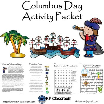 Columbus Day Reading Writing Drawing Activity Packet and W