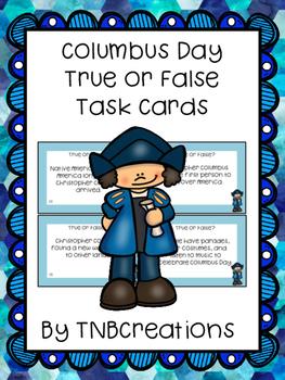 Columbus Day Task Cards True or False