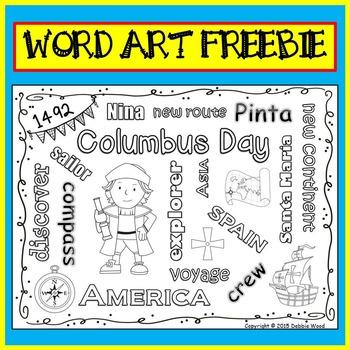 Columbus Day Vocabulary FREEBIE Word Art Fun