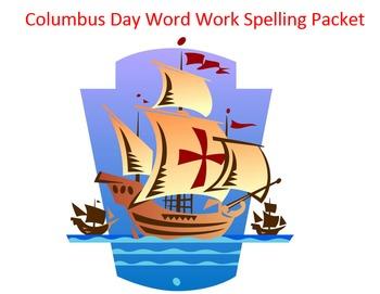 Columbus Day Word Work Packet – 20 words no prep spelling