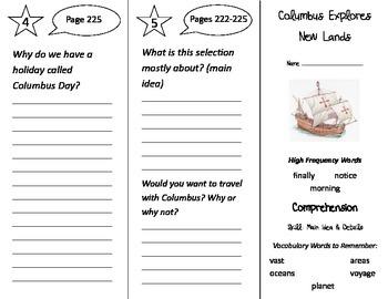 Columbus Explores New Lands Trifold - Treasures 2nd Grade