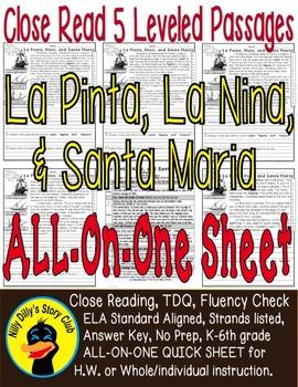 Nina Pinta Santa Maria FACTS Close Read 5 Level Passages A