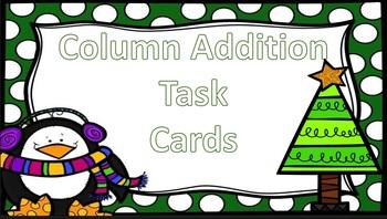 Column Addition Christmas Themed Task Cards